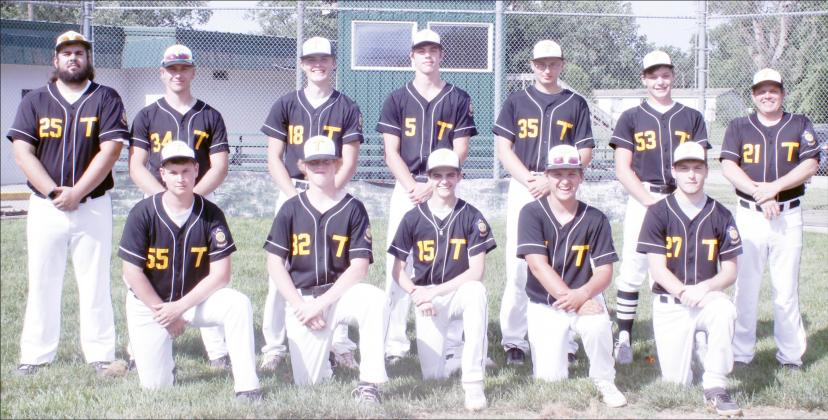 TECUMSEH AMERICAN LEGION SENIORS BASEBALL: From the left, front row -Tanner Kerner, Andrew Richardson, Ethan Dierberger, Conner Epler, Connor Smith; back row - Coach Keaton Kleespies, Treyton Holthus, Sam Boldt, Eli Waring, Jason Kettelhake, Sam Buss, Coach Todd Dierberger. Not pictured, Kolt Davis, Kade Davis, Kole Kleespies, Gabe DeFreece.